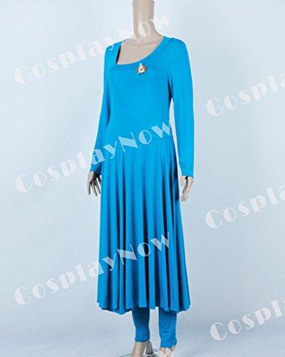 CosplayNow Star Trek Deanna Troi Cosplay Costume Dress Blue Custom Made by CosplayNow (Image #3)