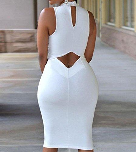 Dal Senza Sera Lace Up Scavano Randello Fuori donne Puro Maniche Coolred Bianco Vestiti Colore Di H7tPnB8