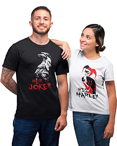 Joker and Harley Quinn Couple Shirts - Matching The Joker and Queen Outfits - King and Queen Hoodies Black Men Large - Women -