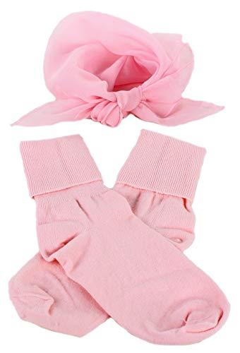 Light Pink Bobby Socks & Sheer Scarf - Retro 50s Accessory Set]()