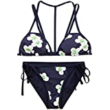 YAUASOPA Women Striped Triangle Bikini Sets Female Top Tie Side Bottom Padded Swimsuit