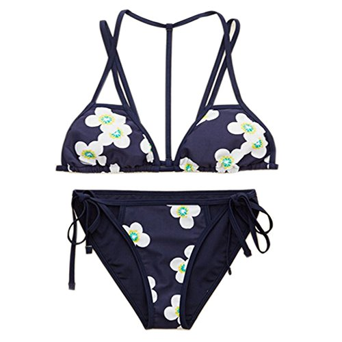 YAUASOPA Women Striped Triangle Bikini Sets Female Top Tie Side Bottom Padded Swimsuit (Medium, Flower)