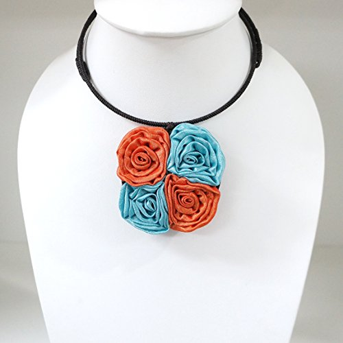 Four Silk flower choker necklace different colors for women (Orange-Sky Blue)