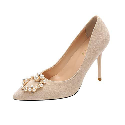 HRCxue Pumps Pumps Pumps Brautschuhe Hochzeit Schuhe rote Strass Brautjungfer Schuhe wies High Heels Stiletto einzelne Schuhe weiblich 5cm, 39, nackt 9cm 2e70a5