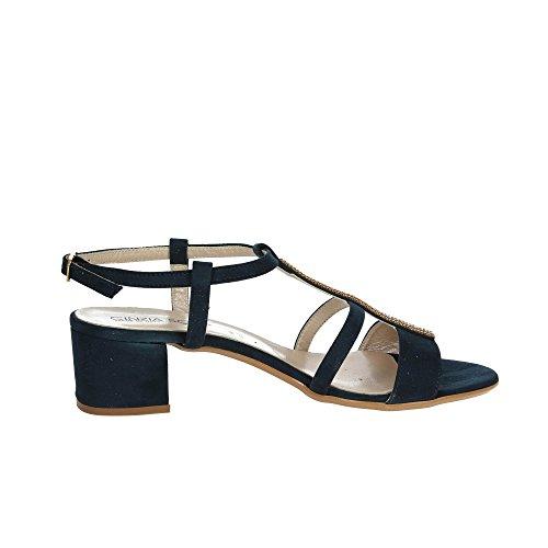 Cinzia Soft 68555 Blue Leather Shoes Women's Sandals Rhinestone Bracelet Blu irUyBb