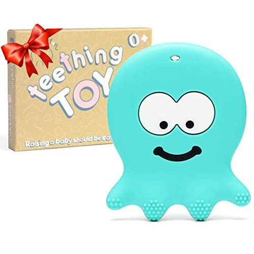 6 Month Old Baby Teething Toys – BPA Free Silicone – Easy to Hold, Soft, Bendable, Highly Effective Octopus Teether, Best for Freezer, Cool 3 6 12 Months 1 Year Old Christmas Gifts Stocking Stuffers