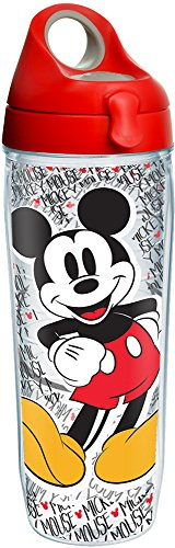 Tervis 1227947 Disney - Mickey Mouse Name Pattern Tumbler with Wrap and Red with Gray Lid 24oz Water Bottle, Clear
