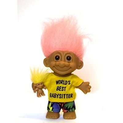 Russ My Lucky World's Best Babysitter Troll Doll with Baby Troll (Peach Hair): Toys & Games