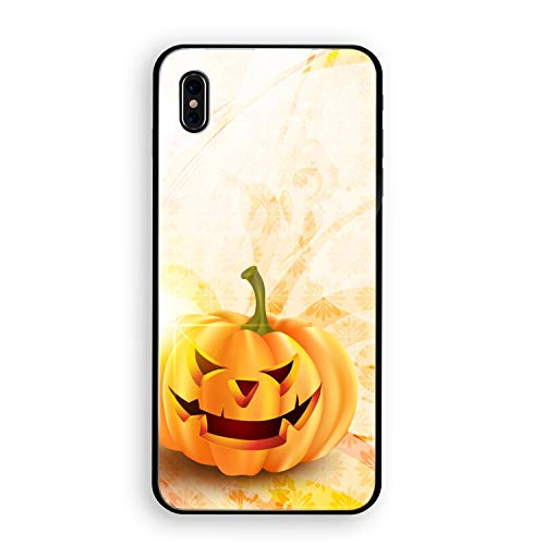 Halloween Pumpkin Phone X Luxury Case Tempered Glass Fit Shell Hard Protective Cover for Phone -