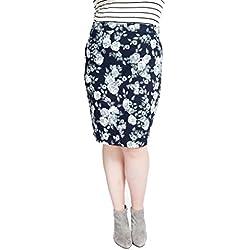 Mikarose Women's Plus Size Rose Print Pencil Skirt Navy Print