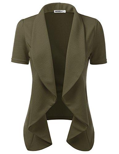 Doublju Womens Lightweight Thin Short Sleeve Open Front Blazer with Plus Size Olive (Stretch Short Sleeve Blazer)