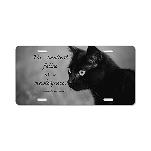 CafePress - Leonardo Da Vinci Cat Quote - Aluminum License Plate, Front License Plate, Vanity Tag