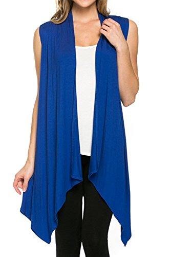 (CardigansforWomen Solid Color Sleeveless Asymetric Hem Open Front Drape Long Cardigan Vest -Royal Blue (X-Large))