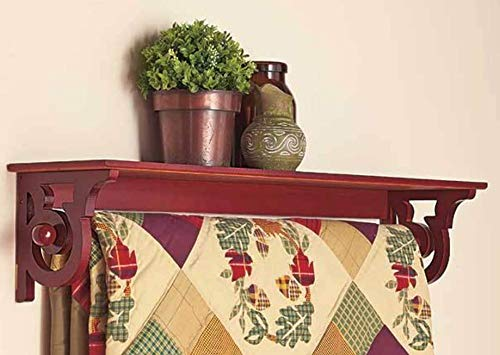 Moon_Daughter Red Deluxe Quilt Blanket Holder Wall Storage Rack with Shelf Scrolled Crolled Entryway