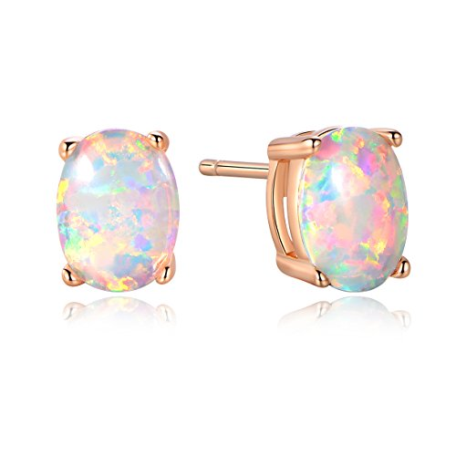 GEMSME Rose Gold Plated Created Opal 6X8MM Stud Earrings (rose-gold-plated-base, created-opal) (Gold Opal Gemstone)