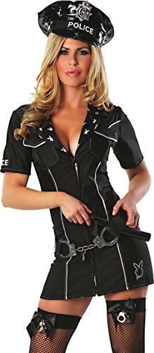 Delicious of NY Playboy Officer Bunny Costume, Black, Medium