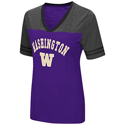 Colosseum Women's NCAA Varsity Jersey V-Neck T-Shirt-Washington Huskies-Purple-Small ()