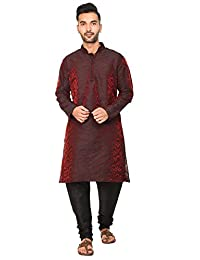 SKAVIJ Men's Art Silk Kurta Pajama Set Indian Traditional Dress