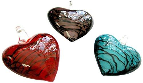Linpeng Murano Glass Pendants/Chunky Puffy Heart/Millefiori 3 Colors / 3 Pcs - Murano Heart Millefiori