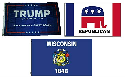 ALBATROS 3 ft x 5 ft Trump #1 with Republican with State of Wisconsin Set Flag for Home and Parades, Official Party, All Weather Indoors Outdoors