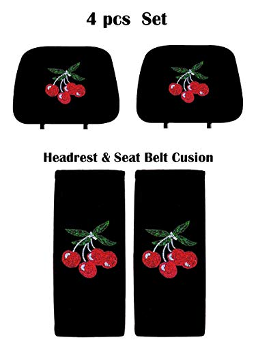 (KAAA ALLBrand Crystal Studded Bling Rhinestone Car Truck Seat Covers Headrest & Seat Belt Cushion - Pair Set (Cherry/Black))
