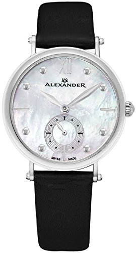 Alexander Monarch Roxana Stainless Steel White Mother of Pearl Large Face Watch For Women – Swiss Quartz Black Satin Leather Band Elegant Ladies Dress Watch A201-01