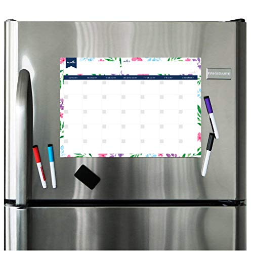 (Magnetic Dry Erase Calendar for Fridge: with Stain Resistant Technology - Two Sizes - 4 Fine Tip Markers and Large Eraser with Magnets: Monthly Whiteboard Organizer - Refrigerator White)
