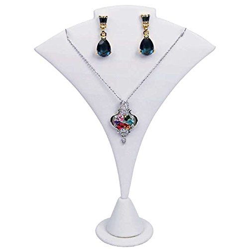 White Leatherette Jewelry Earring and Necklace Display Stand - 7.5