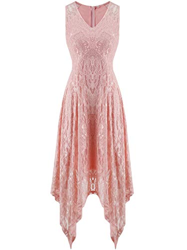 FAIRY COUPLE Women's V-Neck Floral Lace Asymmetrical Handkerchief Hem Cocktail Party Dresses DL022C(M,C Pink)