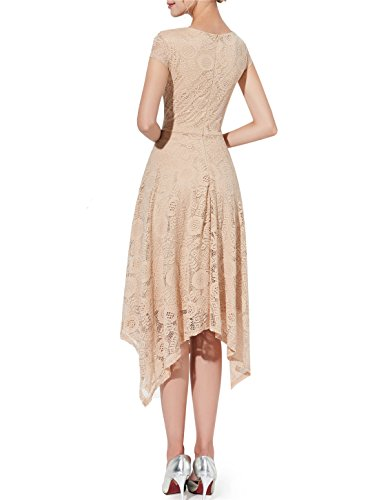 Party Hem Champagne Floral Handkerchief Cocktail Dress Swing Lace Sleeve Women's Cap AONOUR n8q4URUw