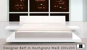 Designer Doppelbett Bett Hochglanz Weiss 200x200 Amazon De Kuche