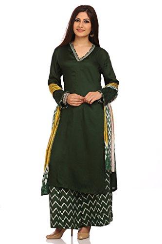 BIBA Women's Viscose Straight Salwar Kameez Dupatta Suit Sets 34 Bottle Green