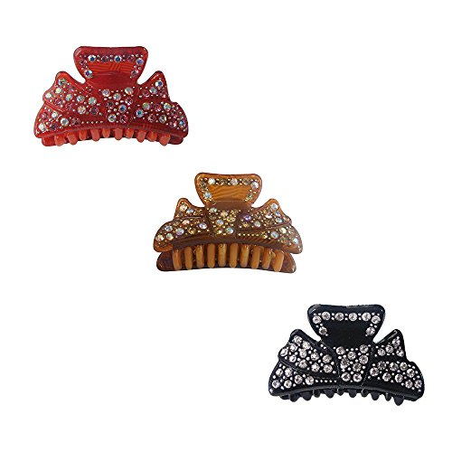 Twinkle Hair Accessories - Czech Crystals Jaw Hair Clips - Bow with Rhinestones - Pack of 3 (1 Black + 1 Coffee + 1 Red)