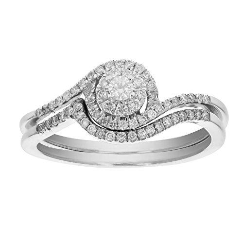 1/3 CT Diamond Wedding Engagement Ring Set 14K White Gold Size 5.5