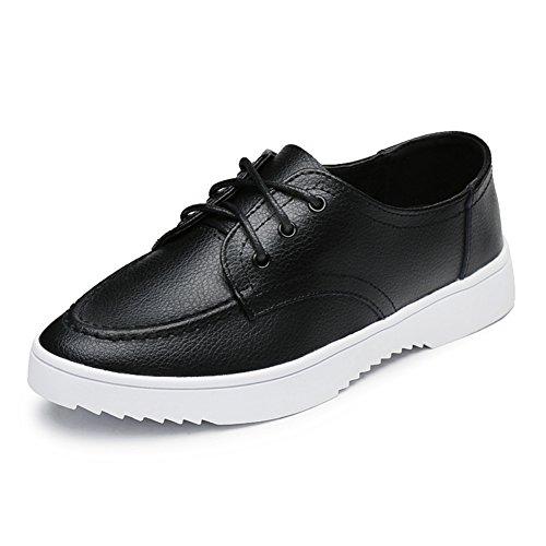 zapatos de las mujeres del otoño/Zapatitos blancos/Zapatos de cuero/Zapatos Casual estudiante/Zapatos de mujer/niña negro/Zapatos de mujer planos B