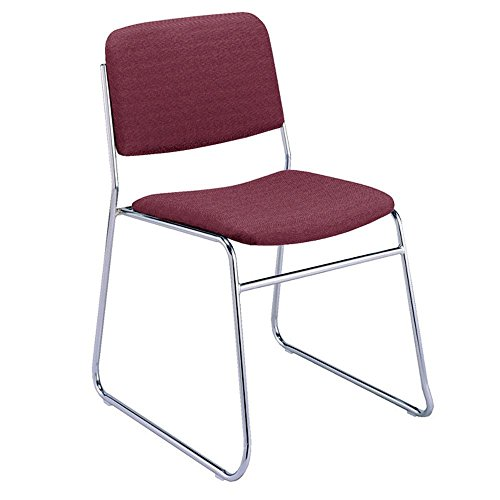 "Fabric Stack Chair with Sled Base Dimensions: 21""W x 23""D x 30""H Seat Dimensions: 16.5""x16.5""x1.5""Thick Cabernet Fabric/Chrome Frame"
