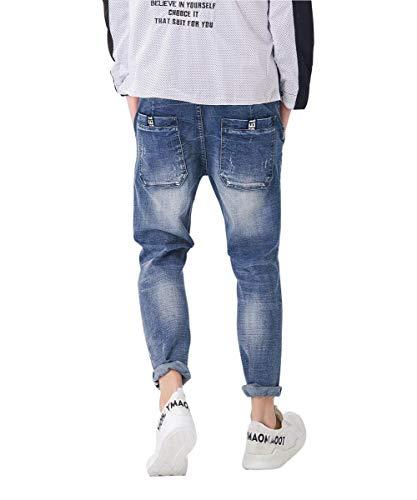 Denim Comodi Da Moda In Pantaloni Di Blau5 Morbidissimi Uomo Classiche Dai Vintage Distrutto Ragazzi E qtdx7