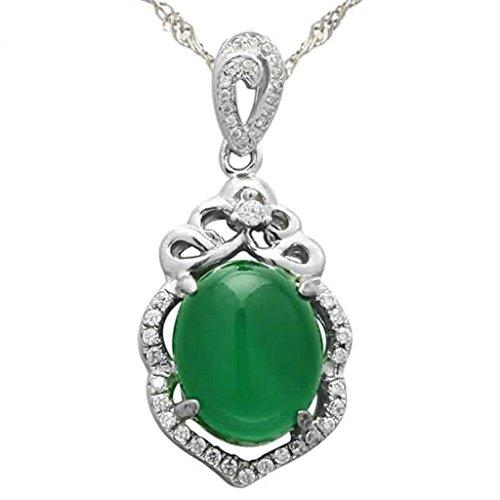 (Daesar Sterling Silver Women's Necklace Floral Vine Adorned Rhinestones CZ Silver Green Pendant Necklace)