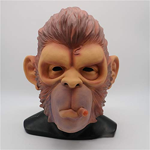 KXIN Halloween Gorilla Mask, Funny Monkey Smoking Mask, Makeup Party Props Carnival Party Monkey Mask, Latex Animal Hood]()