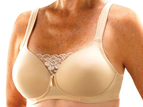 (Classique Post Mastectomy Fashion Bra 720 Seamless/Molded with Padded Wider Straps - 40D - Nude)