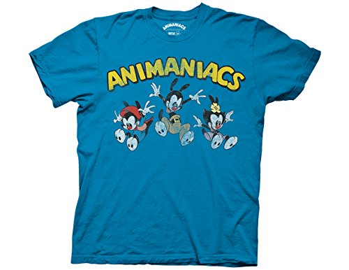 Animaniacs T-shirt Tee (Ripple Junction Animaniacs Animaniacs Jumping Group with Logo Adult T-Shirt Medium Turquoise)