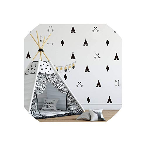 (Little-Lucky 46pcs/Set Teepee Tent Arrow DIY Decals Strong Self-Adhesive Wall Sticker for Kids Baby Nursery Wall Decor Stickers Vinyl,H628 Dark)