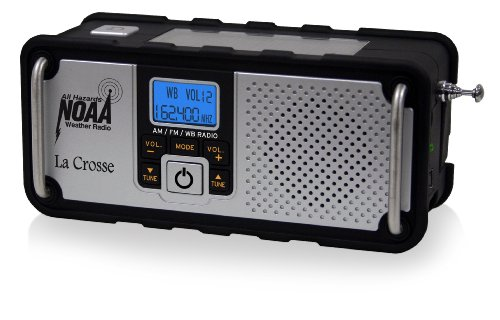 La-Crosse-Technology-810-106-NOAAAMFM-Severe-Weather-Alert-Radio-with-solar-panel-or-hand-crank-recharging-power-USA-made-IC-chip-for-Digital-reception-mobile-device-charging-port-rugged-design-with-n