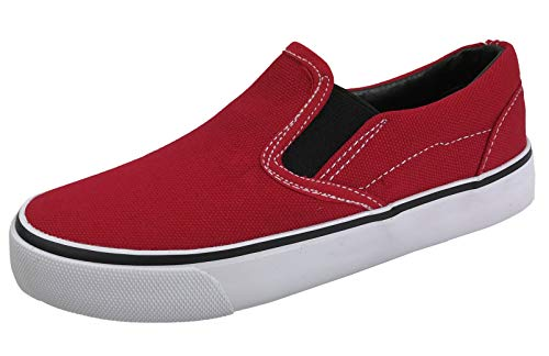 Kid's Classic Slip On Canvas Sneaker Tennis Shoes,2926 Red, 10 US Toddler