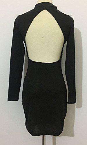 Ballkleid Damen Schwarz Ausschnitt Aushöhlen Rückenfrei Elegant Vintage Eng Kurz Abendkleid Cocktailkleid KIldeS