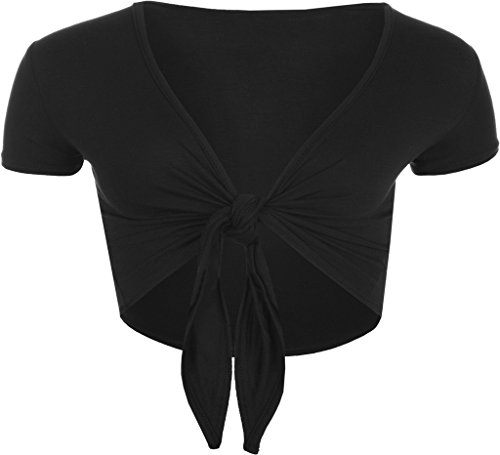RM Fashions Women Short Sleeve Bolero Cardigan Crop Top Tie up Shrug Cosplay Shirt (Medium-Large, -