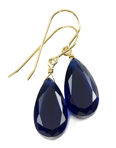 14k Yellow Gold Filled Deep Blue Simulated Sapphire Earrings Faceted Teardrops Simple Dainty Drops 1.4