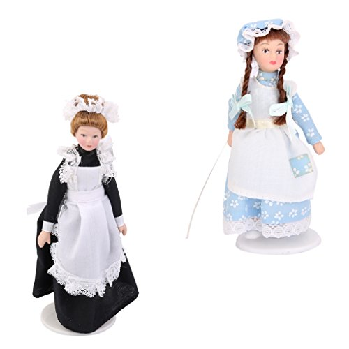 MagiDeal 2 Piezas 1/12 Muñecas de Porcelana Victoriana Expositor Casa de Muñecas en Miniatura