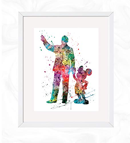 Elias Walter and Mickey Mouse Prints, Disney Watercolor, Nursery Wall Poster, Holiday Gift, Kids and Children Artworks, Digital Illustration Art