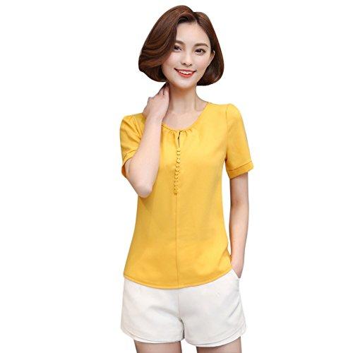 EFINNY Women Chiffon Blouse T-Shirt Office OL Short Sleeve Loose Tops Workwear
